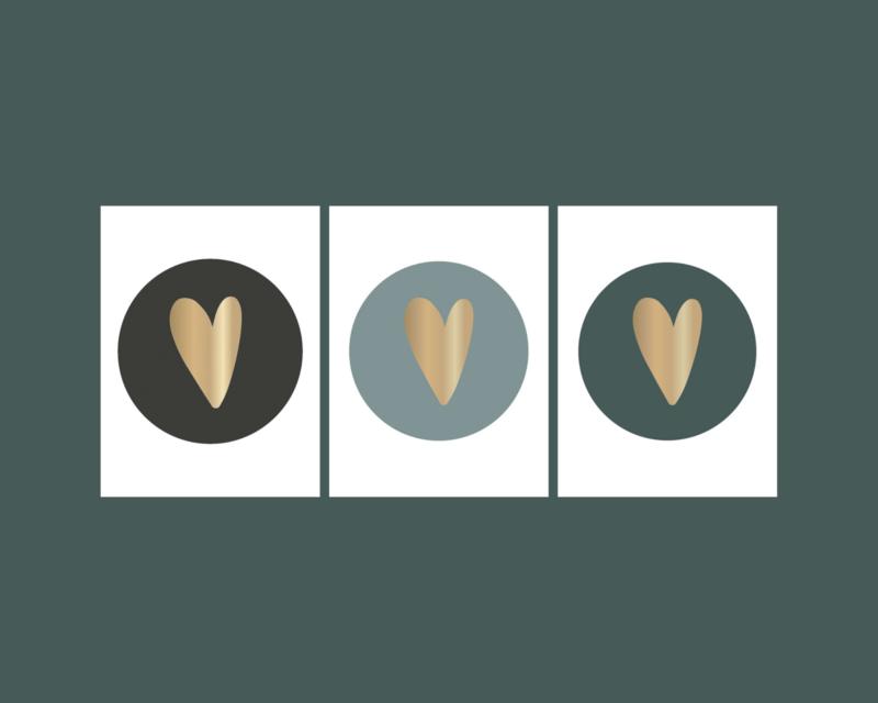 Stickers   hart goudfolie mix zwart-grijs-petrol   HOP.