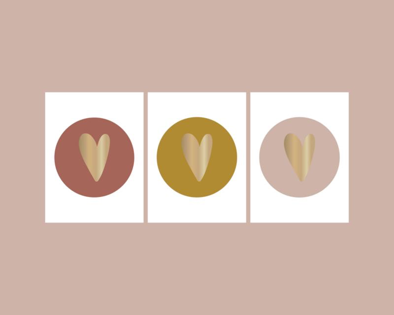 Stickers | hart goudfolie mix oudroze-warmrood-okergeel | HOP.