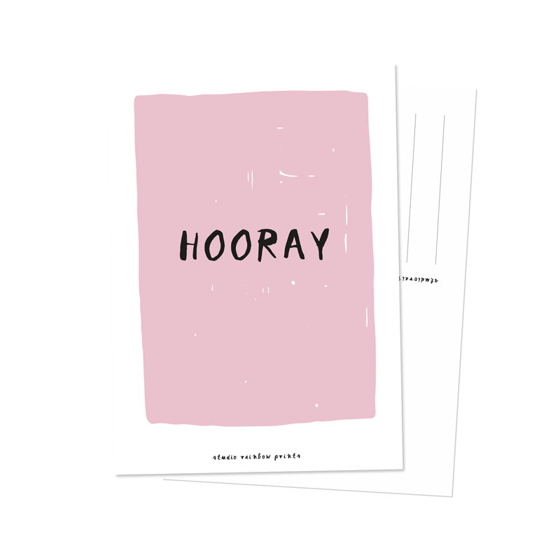 Kaart   Hooray   Studio Rainbow Prints