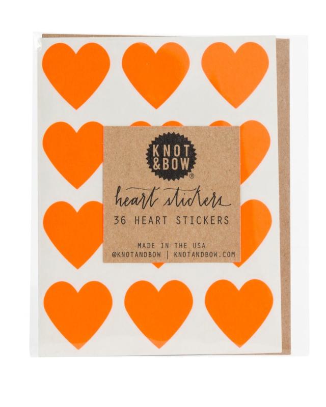 Hartstickers   neon oranje   Knot & Bow