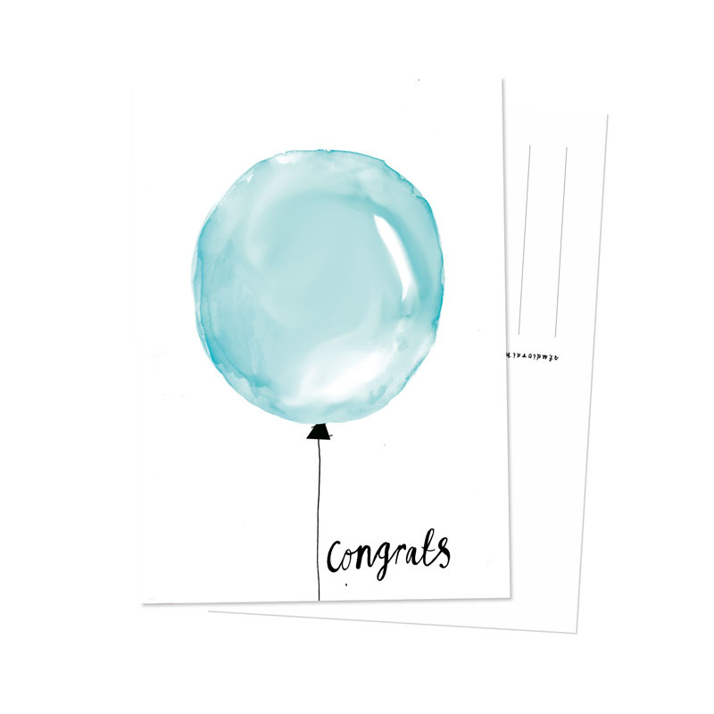 Kaart | ballon blauw | Studio Rainbow Prints