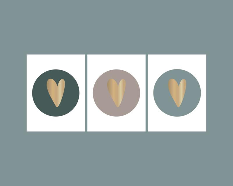 Stickers | hart goudfolie mix grijs-groenblauw-petrol | HOP.