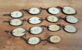 Houten sleutelhanger met cijfers