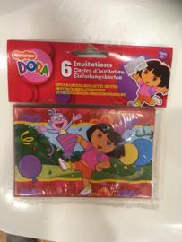 Uitnodigingskaarten Dora 6 stuks
