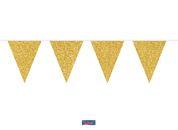 Vlaggenlijn glitter goud 6 meter