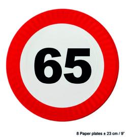 65  jaar: 8 paper plates plus minus 23 cm