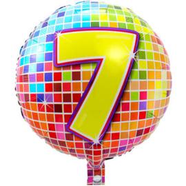 Folie ballon 7 jaar plus minus 45 cm wordt met helium geleverd kan alleen bezorgd worden in Berkel en Rodenrijs, Bergschenhoek, Bleiswijk, pijnacker  of in de winkel afgehaald worden