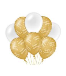 Balloons Decoratie Gold White Happy Birthday  8 stuks
