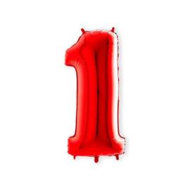 Folie ballon Cijffer 1 Rood 100 cm wordt geleverd met helium kan alleen bezorgd worden in Berkel en Rodenrijs, Bergschenhoek, Bleiswijk, pijnacker  of in de winkel afgehaald worden