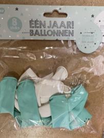 Ballonnen 1 jaar  8 pcs groen wit