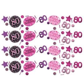 confetti 80 jaar Roze zwart paars