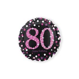 Folieballon HBD sparkling pink 80 (45cm) wordt geleverd zonder helium