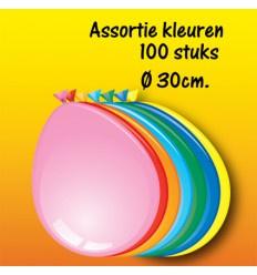 Assortie gekleurde ballonnen 100 stuks circa 30 cm