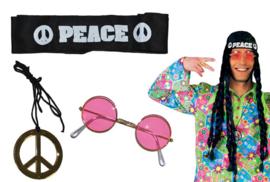 Hippyset 3 delig bril, Ketting en haarband
