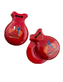 2 red castanets