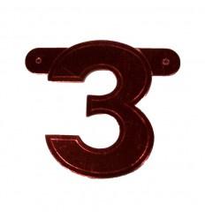 Banner cijfer 3 Rood 1 pcs