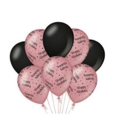 Balloons Decoratie Rose Black Happy Birthday  8 stuks