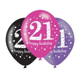 Ballonnen 21 jaar roze paars zwart 6 stuks