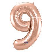 """Cijffer 9  Rose Gold 34"""" wordt geleverd met helium  kan alleen bezorgd worden in Berkel en Rodenrijs, Bergschenhoek, Bleiswijk, pijnacker  of in de winkel afgehaald worden"""