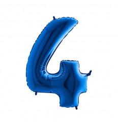 Folie ballon Blauw Cijfer 4 plus minus 102 cm  wordt geleverd met helium kan alleen bezorgd worden in Berkel en Rodenrijs, Bergschenhoek, Bleiswijk,   of in de winkel afgehaald worden