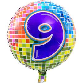 Folie ballon 9 jaar plus minus 45 cm wordt met helium geleverd kan alleen bezorgd worden in Berkel en Rodenrijs, Bergschenhoek, Bleiswijk, pijnacker  of in de winkel afgehaald worden