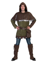 Deep Forrest man Tunnic belt with purse, cape wit hood boot covers arm piece maat 48/50