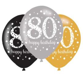 Ballonnen 80 zwart goud zilver 6 stuks