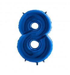 Folie ballon Blauw Cijfer 8 plus minus 102 cm  wordt geleverd met helium kan alleen bezorgd worden in Berkel en Rodenrijs, Bergschenhoek, Bleiswijk,  of in de winkel afgehaald worden
