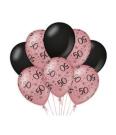 50 jaar Ballonnen 8 stuks Rose Black