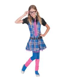 college girl dress with shirt belt tie maat 128