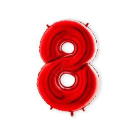 Cijffer 8 Rood 100 cm wordt geleverd met helium kan alleen bezorgd worden in Berkel en Rodenrijs, Bergschenhoek, Bleiswijk, pijnacker  of in de winkel afgehaald worden