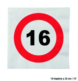 16 Jaar: 16 napkins plus minus 23 cm