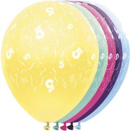Ballonnen 5 jaar 5 stuks