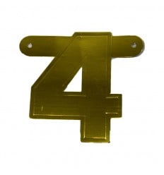 Banner cijfer 4 goud 1 pcs