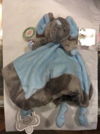 Knuffel olifant Blauw/Grijs met Fop bevestiging