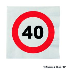 40 Jaar: 16 napkins plus minus 23 cm