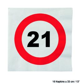 21 Jaar: 16 napkins plus minus 23 cm