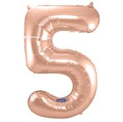 """Cijffer 5  Rose Gold 34"""" wordt geleverd met helium  kan alleen bezorgd worden in Berkel en Rodenrijs, Bergschenhoek, Bleiswijk, pijnacker  of in de winkel afgehaald worden"""