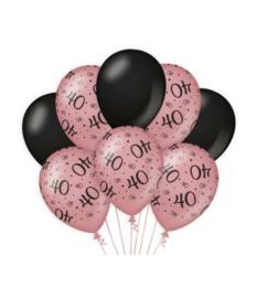 40 jaar Ballonnen 8 stuks Rose Black