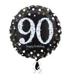 Folie ballon 90 jaar geleverd met  helium kan alleen geleverd worden in Berkel en Rodenrijs Bergschenhoek Bleiswijk en Pijnacker of kunnen afgehaald wordt in de winkel