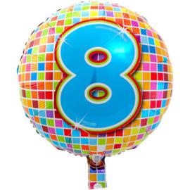 Folie ballon 8 jaar plus minus 45 cm wordt met helium geleverd kan alleen bezorgd worden in Berkel en Rodenrijs, Bergschenhoek, Bleiswijk, pijnacker  of in de winkel afgehaald worden
