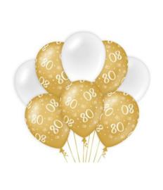 80 jaar Ballonnen 8 stuks gold White
