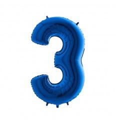 Folie ballon Blauw Cijfer 3 plus minus 102 cm  wordt geleverd met helium kan alleen bezorgd worden in Berkel en Rodenrijs, Bergschenhoek, Bleiswijk en pijnacker  of in de winkel afgehaald worden