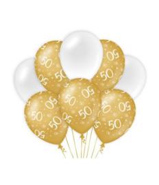 50 jaar Ballonnen 8 stuks gold White