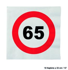 65 Jaar: 16 napkins plus minus 23 cm