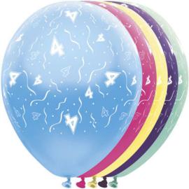 Ballonnen 4 jaar 5 stuks