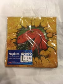 Dinosaur servetten 25x25 16 stuks