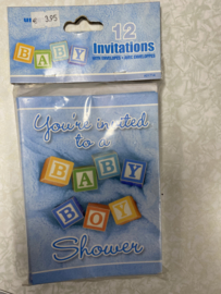 12  Invitations baby shower blauw