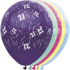 Ballonnen 21 jaar 5 stuks