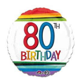 Folieballon rainbow '80'. Deze folieballon heeft een grootte van 43cm en kan zowel met lucht als met helium worden gevuld. Wanneer de ballon gevuld wordt met helium, blijft hij zweven. wordt geleverd zonder helium.